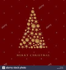 christmas card design gold snowflake in christmas tree shape on