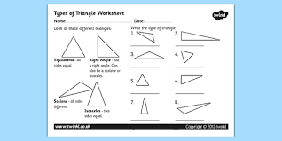 types of triangle worksheet triangles shapes types of