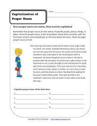 capitalize proper nouns kindergarten and 1st grade noun worksheet