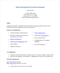 Hotel Resume Examples Receptionist Resume Template Free Resume Template And