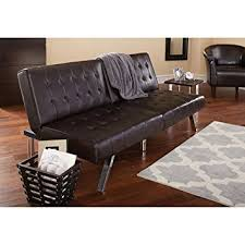 Tufted Faux Leather Sofa Mainstays Faux Leather Tufted Convertible Futon Brown
