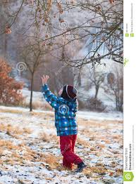child under a apple tree in winter garden stock photo image