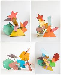 hello wonderful geometric cardboard shape sculptures with free