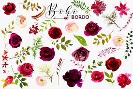 burgundy flowers boho bordo burgundy white flowers clipart by whiteheartdesign