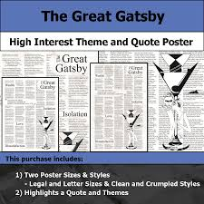 themes of wealth in the great gatsby the great gatsby visual theme and quote poster for bulletin boards