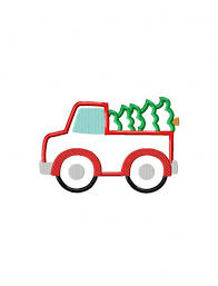 christmas applique truck with christmas tree appliqué embroidery design truck