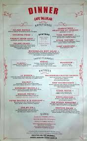 Filet Mignon Menu Dinner Menu Cafe Tallulah
