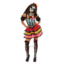 ladies mexican day of the dead skeleton fancy dress womens