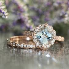 aquamarine and diamond ring vintage floral aquamarine engagement ring and scalloped