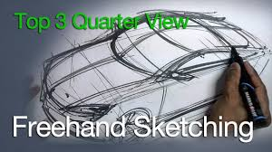 vehicle top view freehand sketching car sketch top 3 4 view youtube