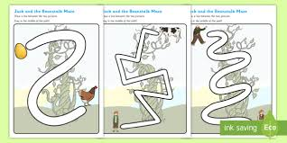 jack and the beanstalk pencil control path sheets jack and the