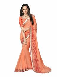 sree siddhi collections peach colour georgette saree
