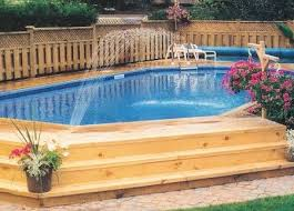Backyard Designs With Pool 51 Best Semi Inground Pools Images On Pinterest Backyard Ideas