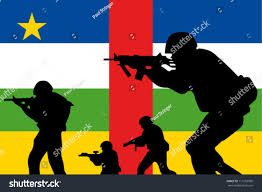 Red Flag Band Central African Republic Flag Silhouette Soldier Stock Vector
