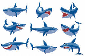 vector swimming angry shark illustrations creative market