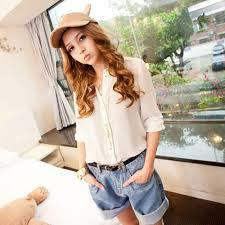 fg1509 korean style women high waist shorts casual oversize