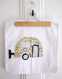 fun tea towels tea towel appliqued caravan design 100 by
