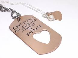 dog tag jewelry engraved cut copper dog tag and heart necklace set for him and