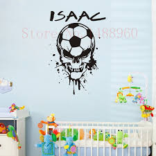 aliexpress com buy e78 soccer ball skull head custom name wall aliexpress com buy e78 soccer ball skull head custom name wall decal wall stickers boys kids room wall art personalized name customer decoration from