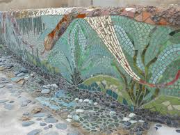 Beautiful Mosaic Retaining Wall Creates A Work Of Art In The - Wall mosaic designs