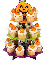makeover a plain cake stand into a halloween cupcake stand pink