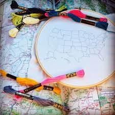 Fat Map Usa by Embroidered Usa Map Handmade Is Better