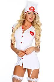 white red 2 piece nurse costume