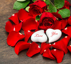 Valentine S Day Flower Decor by Valentines Day Decoration Red Roses And Two Hearts Stock Photo