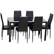 amazon com merax 7 piece glass top dining set table u0026 chair sets