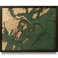 Savannah Map Savannah Wood Map 3d Nautical Topographic Chart Framed Art
