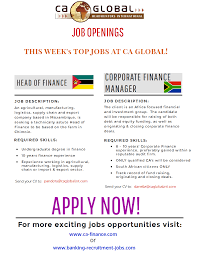 banking jobs in angola mozambique and south africa ca global
