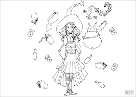 magical witch coloring page free printable coloring