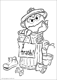 garbage monster coloring page oscar the grouch