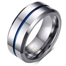 thin blue line wedding band men s thin blue line ring wedding band 8mm made of tungsten