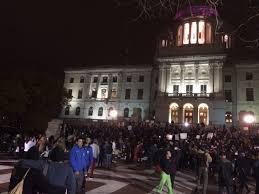 hundreds in providence protest trump presidency wbru