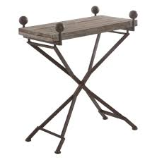 Small Wood Folding Table French Country Reclaimed Wood Folding Wrought Iron Side Table S