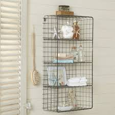 bathroom attractive iron wire open wall mount shelves white