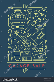 garage sale sign template poster banner stock vector 716697799