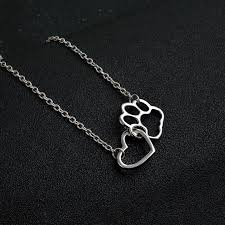 gold animal pendant necklace images Linked heart and dog paw pendant necklace gold and silver blitz jpg