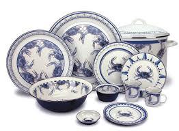 themed blue crab enamel dinner set for sale cottage bungalow
