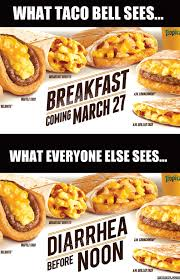 Funny Breakfast Memes - what taco bell sees vs everyone else sees