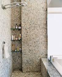 bathroom shower tile ideas large charcoal black pebble tile border shower accent https www