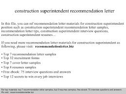 Construction Superintendent Resume Samples by Construction Superintendent Recommendation Letter
