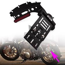 motorcycle license plate frame with led brake light motorcycle telescopic folding side mount license plate holder white