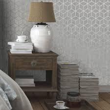 B Q Living Room Design Statement Silver Effect Rochester Metallic Effect Wallpaper
