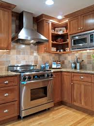 kitchen brown wooden kitchen cabinet with tiled backsplash and