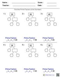 prime factorization trees factors worksheets use for homework or