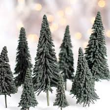 miniature frosted artificial pine trees miniatures