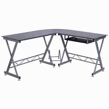 l shape computer desk pc glass top laptop table workstation corner