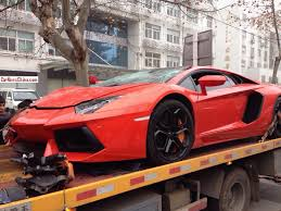 Lamborghini Aventador Crash In China Front Photo Truck Size